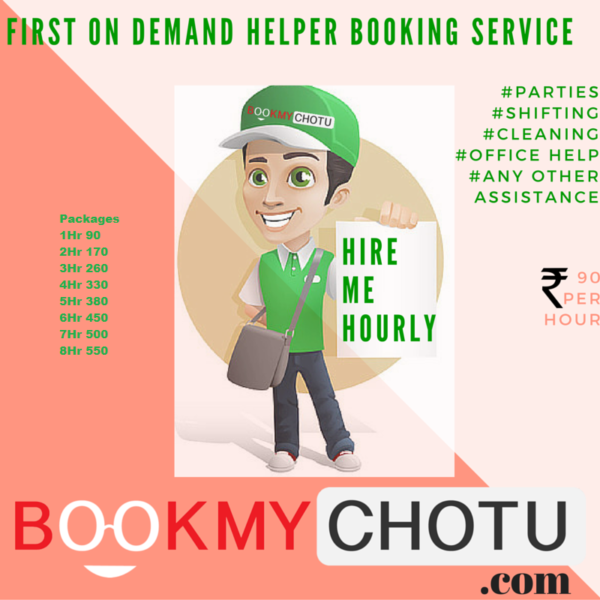 Indian Startup BookMyChotu - NCR based On-demand Helper Booking Service Startup offers Tons of Convenience
