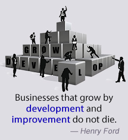 Businesses that grow by development and improvement do not die