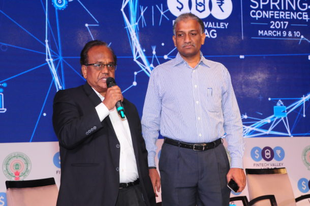 Mr J A Chowdary, Special Chief Secretary and IT Advisor, Govt of Andhra Pradesh (L) and Mr Valeti Premchand, MD,Andhra Pradesh Technology Services (APTS) at Spring Conference, Fintech Valley, Vizag on March 10, 2017